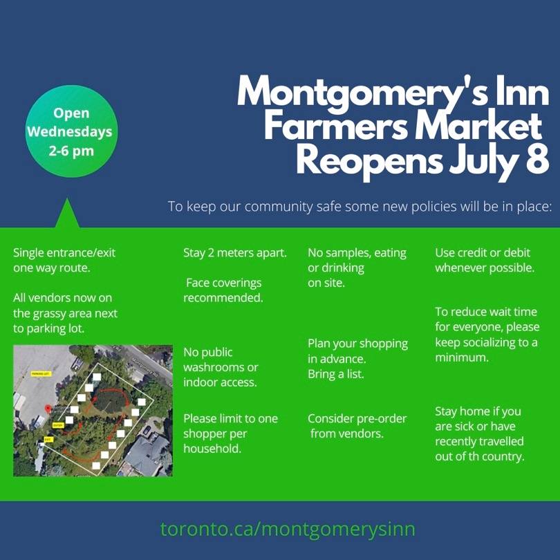 Poster about the Reopening of the Montgomery's Inn Farmers Market