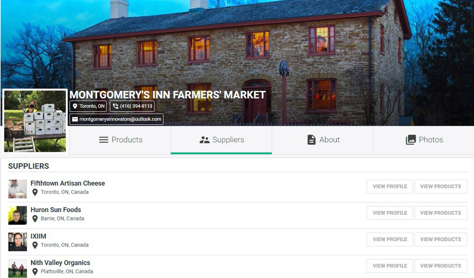 Screenshot of the Virtual Market Home Page